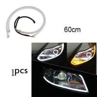 Novo 60 CM DRL Tira Tubo LED Flexível Luzes Diurnas Turn Signal Angel Eyes Car Styling Lâmpadas de Estacionamento