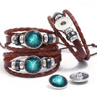DIY 12 Constellation Snap Bouton Bracelet Bijoux Multi-couches En Verre Cabochon Couple Noosa Bracelets En Cuir Pour Hommes Femmes