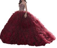 QuinceAneraは、熱い赤いネット、Feifeiのスカート、テールストラップ、重いマニュアル、輝くハート型のカラー、カスタマイズ可能な格安の郵便料金です。