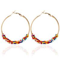 Shuangr Reis Perlen Temperament Ohrschnalle Clip Hoop Legierung Rundkreis Geometrische Ohrringe Hohe Qualität Großer Ohrring