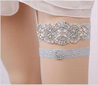 Sparky Crystal Grey Lace Bridal Strumpfbänder Hochzeit Strumpfbänder Handmade Lace Wedding Bein Strumpfbänder Günstige Auf Lager