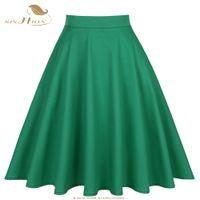 SISHION verdes falda retro para mujer Faldas de verano 2018 de la alta cintura de la vendimia elegante longitud de la rodilla Una línea de las mujeres del algodón de la falda S-XXL