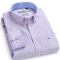 남성용 긴 소매 대비 무늬 / 스트라이프 옥스포드 드레스 셔츠, 왼쪽 가슴 주머니 남성 캐주얼 슬림 피트 단추 다운 셔츠