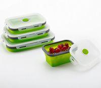 Silikon-Brotdose-tragbare Schüssel-bunte faltende Nahrungsmittelbehälter-Brotdose 350/500/800 / 1200ml umweltfreundliches c729