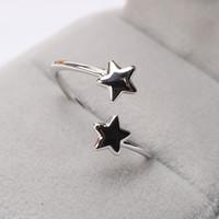 Anneau de petit doigt queue index main ornements amateurs ouverture bague personnalité rétro ornements pentagramme anneau unique