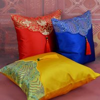 Patchwork Tassel Chinese Silk Satin Pillow Case Cushion Cove...