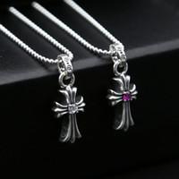 Marca 925 joyas de plata de plata antigua hecha a mano cruzada diseñador estadounidense pendientes collar de 2 colores para las mujeres el envío libre