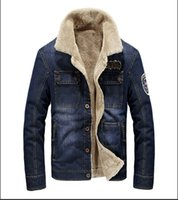 2018 hombres de la chaqueta de mezclilla de lana de moda de invierno de alta calidad más el tamaño de lana grueso espesar piloto chaqueta de mezclilla capa hombres M ~ 4XL BF803