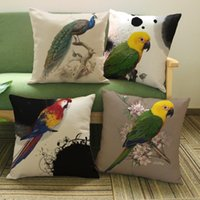 Parrot Peacock Bird Painting Cushion Covers Nordic Home Deco...