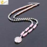 CSJA Maglione Chakra Collana per le donne naturale rosa quarzo rosa goccia di cristallo pendente della pietra preziosa dichiarazione collane albero della vita gioielli s234