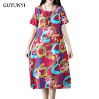 a49b6b55fc11 vendita all ingrosso abito vintage stile cinese stampa floreale plus size  vestiti delle donne biancheria di cotone casual vestito estivo abiti CX1000