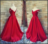 New Simple Dark Red Prom Dresses Scollo a V Off The Shoulder Ruched Satin Custom Made Backless Corset Abiti da sera Abiti formali Immagine reale