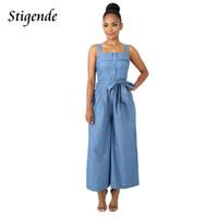 Stigende Femmes Casual Lâche Denim Combinaison Romper Jeans Sans Manches Dos Nu Large Combinaison Thin Front Bouton Combinaison Jumpsuit