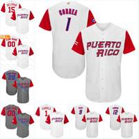 Hommes Puerto Rico 12 F L maillot de baseball mondial 2017 9 Javier Baez 1 Correa 4 Yadier Molina 15 Maillots de Baseball Carlos Beltran