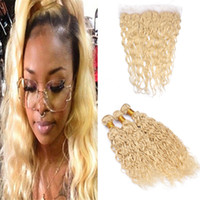 Indian Water Wave Blonde Human Hair Bundles with Frontal Clo...
