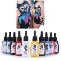 Toptan-10 adet / takım Renkler Parlak Kalıcı Komple Dövme Mürekkep Pigment Seti Kaş Dudak Kına Kalıcı Makyaj Mürekkep Dövme Mürekkepleri için Vücut