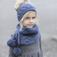 Bébé Filles Garçons Bandeau Knitting Casquettes enfants Chapeaux Echarpes Ensembles hiver chaud Crochet cheveux Band 2 enfants Tricoté IN 1 écharpe Cadeaux Chapeau