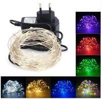 10 M 100 LED Dize Işık Bakır Tel Peri Işık Noel Yeni Yıl Düğün Dekorasyon Lamba 12 V 1A Güç Adaptörü ile AB ABD Plug