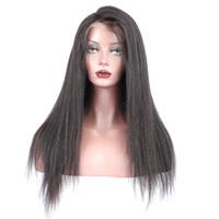 2018 100% virgen sin procesar remy cabello humano flequillo yaki recto color natural superior peluca llena del cordón para las mujeres
