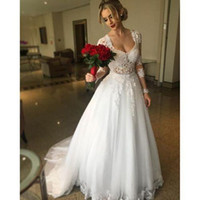 V Neck Lonf Sleeves Appliques in pizzo Tulle White Sweep Train Tires Abiti da sposa Abito da sposa Sexy