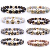 Vulkan-Rock-Armbänder 8mm Yoga-Perlen handgefertigte Perlen-Inlaid-Zirkon-Krone Natursteinarmband-Armband-Modeschmuck Kimter-H800F Z