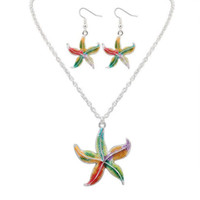 Euramerican estilo colorido starfish colar brinco conjunto camisola cadeia pingente de colar mulheres acessórios bardian navio livre