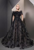 Ziad Nakad Black Prom Dresses A Line Luxury Feathers Off The...