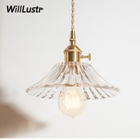 Nordic vintage crystal ribbed pressed glass pendant light co...
