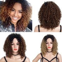 Las pelucas sintéticas del frente del cordón para las mujeres Negro peluca corta afroamericana afro rizado rizado pelucas de pelo calor fibra resistente Moda rizado