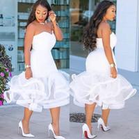 Africano 2019 Sexy Docinho Tea Length Prom Vestidos Tiered Partido Curto Mermaid Vestidos Plus Size vestido de cocktail Para Mulheres Vestidos