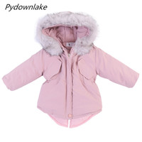 Pydownlake Kleinkind Mädchen Baumwolle gepolsterte Mäntel 2018 Winter Kinder lange Soild Reißverschluss Parka Warm Outwear Prinzessin Party Mäntel 18M-8Years
