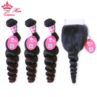 Queen Hair Brazilian Loose Wave 3 Bundles Human Hair With La...