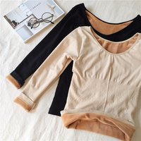 2018 Women Autumn Winter T Shirt Slim Warm Thick Velvet T-Shirts Tees Female Long Sleeve Bottoming Shirt Underwear Tops AB1106