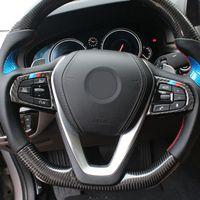 Carbon Fiber автомобилей Стайлинг интерьера кнопок рулевого колеса Отделка Обложка наклейки аксессуары для BMW 5 Series 6GT X3 G01 G30 G32 G38