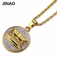 JINAO Hip Hop Erkekler Kadınlar Bling Takı Kolye Altın Renk Buzlu Out Mikro Kristal Son Supper Kolye Kolye Halat Zincir