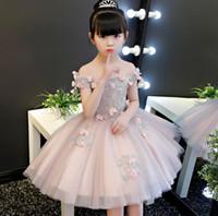 Новое прибытие цветок Принцесса девушка платье без плеч Баптист розовый тюль Свадьба День Рождения платье дети пачка платье летняя одежда