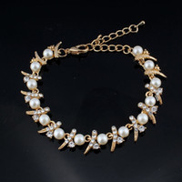 Simulation pearl bracelet ladies gold color link chain cryst...