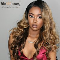 WoWEbony In Stock Glueless Lace Front Wigs 8A Grado Indian Remy Hair Ombre Evidenzia Colore # 2/27/4 20 pollici [OMBREL022]