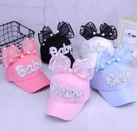 Çocuk net şapka yaz bebek sevimli tavşan kulaklar güneş şapka bebek büyük inci yay beyzbol şapkası MZ001