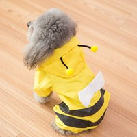 Bee Shape Yellow Waterproof Dog Raincoat Pet Dog Honey Cloth...