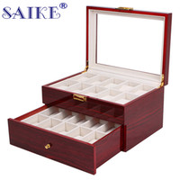 SAIKE 20 Grids Watch Display Box Lacquer Wood MDF Multifunct...