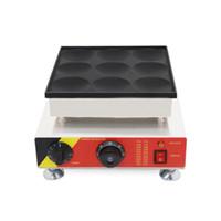 Ticari 110 v 220 v 9 delik 8 CM Elektrikli Waffle Poffertjes Maker Makinesi Mini Gözleme Krep Baker Izgara demir Ekipmanları