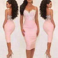 Sexy Espaguete Curto Cocktail Dresses Lace Apliques Sem Encosto Barato Homecoming Vestido Rosa Bainha Prom Party Vestidos Vestido de Dama de honra