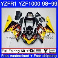 Giallo Fiamme Lavoro carrozzeria per Yamaha YZF R 1 YZF1000 YZF-R1 1998 1999 Telaio 235hm.25 YZF-1000 YZF R1 98 99 YZF 1000 YZFR1 98 99 carenatura del corpo