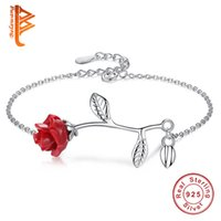 BELAWANG New Fashion 925 Sterling Silver Red Rose Flower Cha...