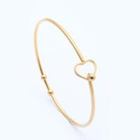 Edelstahl Silber Gold Rose Gold Heart-shaped Armband Frauen Herz Charm Draht Fangen Armreif für Frauen Armbänder