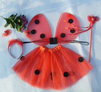 Cute Girls Ladybug Tutu Set Halloween Tutus Skirt Niños Baby Girls Fancy Costume Red Black Dot
