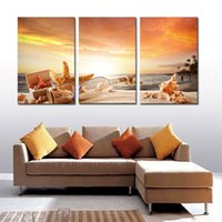 3 pieces canvas painting Shell Drift Bottle Sunrise canvas p...