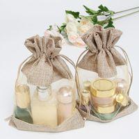 """Bolsas de regalo de organza de yute claro de lino 16x22 cm (6 """"x8.5"""") Aceite esencial Maquillaje, champú líquido Maquillaje de arpillera Joyas de lino Bolsas de promoción 50 unid."""