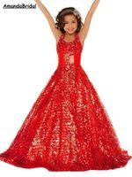 Amandabridal Gold Sequined Little Girls Pageant Desses 2020 Halter Neck Halter Sparkling Kids Formal Wear Wedding Flower Girl Dresses